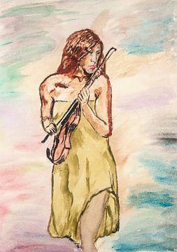 Vrouw mat viool -Woman with violin-Frau mit Geige-Femme avec violon van aldino marsella