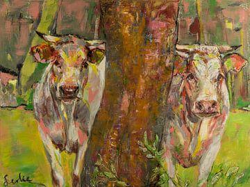Zwei Kühe hinter dem Baum von Liesbeth Serlie