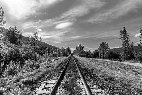 Spoorlijn door de Rockie Mountains van Canada
