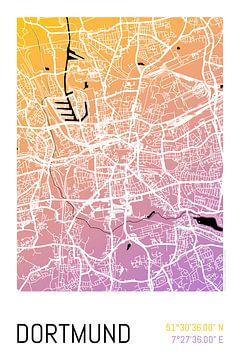 Dortmund – City Map Design Stadtplan Karte (Farbverlauf) von ViaMapia