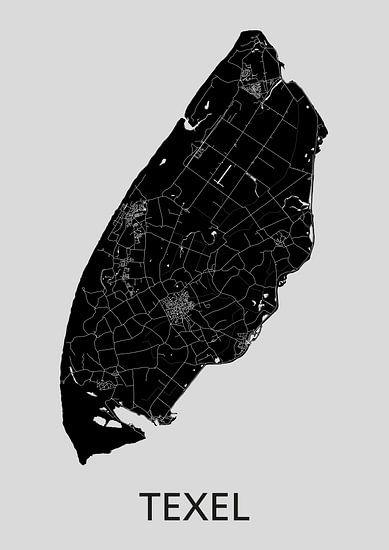 Texel Landkaart | Grijs