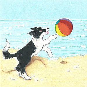 Sendie met strandbal aan zee van Rianne Brugmans van Breugel