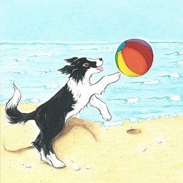 Sendie mit Strandball am Meer von Rianne Brugmans van Breugel