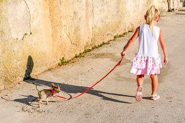 Een klein meisje laat een hond uit van Lars-Olof Nilsson