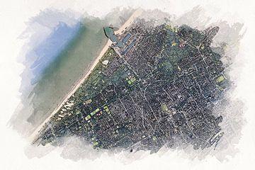Karte von Den Haag im Aquarellstil von Aquarel Creative Design