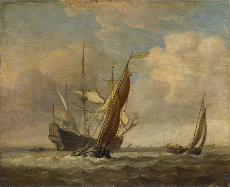 Zwei kleine Schiffe und ein niederländisches Kriegsschiff im Wind, Willem van de Velde von Meesterlijcke Meesters