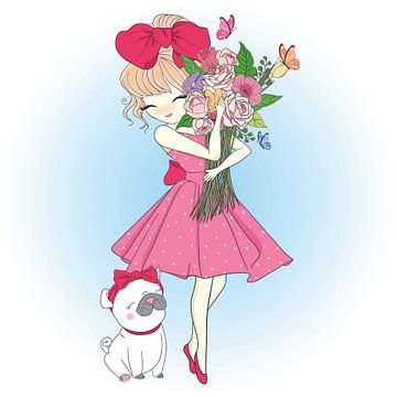 Meisje met bloemen en mopshond van Atelier Liesjes