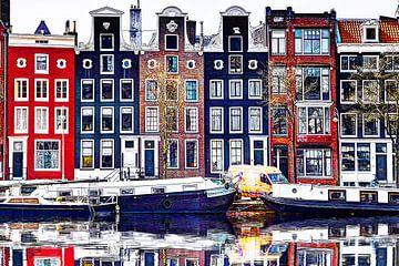Maisons sur l'Amstel avec image miroir sur Hendrik-Jan Kornelis