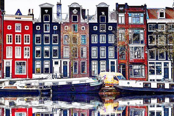 Huizen aan de Amstel Amsterdam met spiegelbeeld