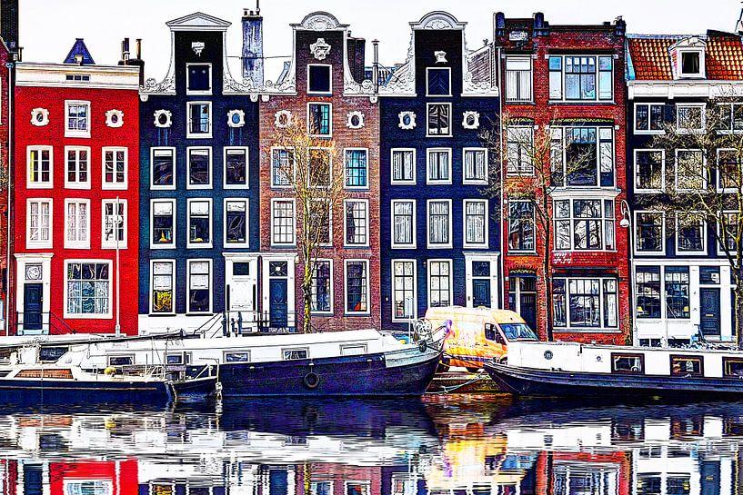 Huizen aan de Amstel Amsterdam met spiegelbeeld van Hendrik-Jan Kornelis