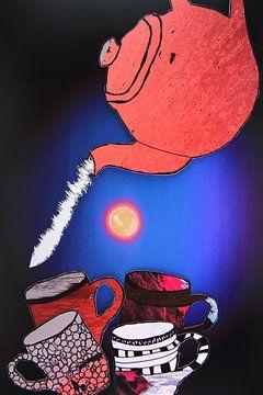 Theepot met mokken bij volle maan von Els Rooijers