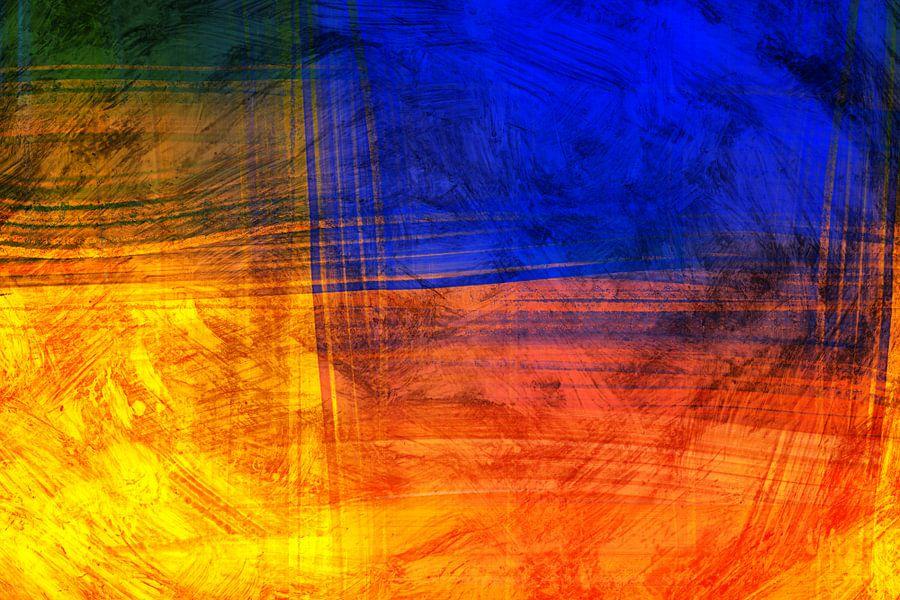 Rode Blauwe Abstract van Jan Brons