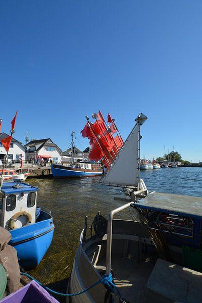 rote Fahnen am Fischerboot, Vitte, Hiddensee von GH Foto & Artdesign