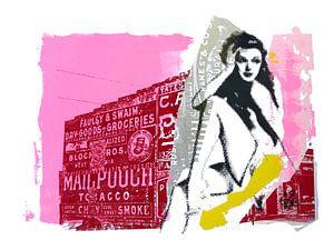 Pin-upgirl in pink van
