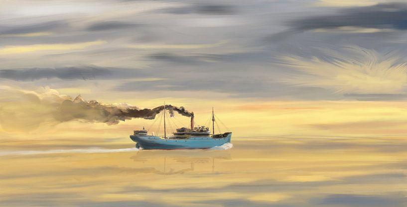 Steamship Freighter se dirigeant vers l'océan sur Jan Brons