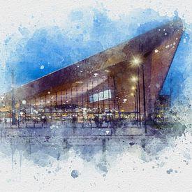 Aquarelle de la gare centrale de Rotterdam sur Ton de Koning