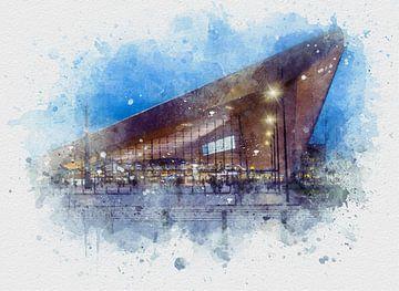 Aquarel van het Rotterdam Centraal Station