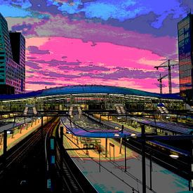 Zonsondergang Station Utrecht Centraal sur Marijke Mulder