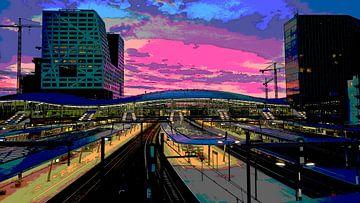 Zonsondergang Station Utrecht Centraal van Marijke Mulder
