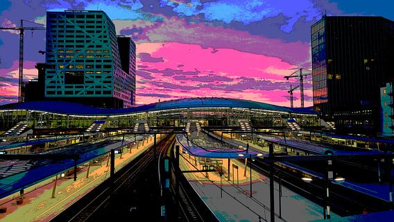 Zonsondergang Station Utrecht Centraal van MY ARTIE WALL