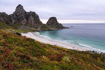 Het strand bij Bleik in Noorwegen in de herfst van Jasper den Boer