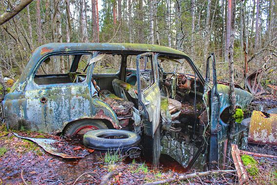 Car wreck in Swedish forest I von Ron de Regt