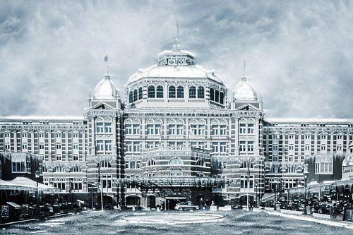 Het Kurhaus in Scheveningen in hartje winter van Art by Jeronimo