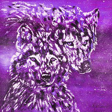 Paarse winterwolf van Kathleen Artist Fine Art