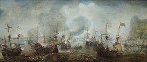 Zeeslag bij Gibraltar van Cornelis Claesz. Van Wieringen