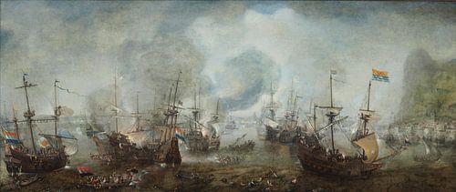 Zeeslag bij Gibraltar van Cornelis Claesz. Van Wieringen van Meesterlijcke Meesters