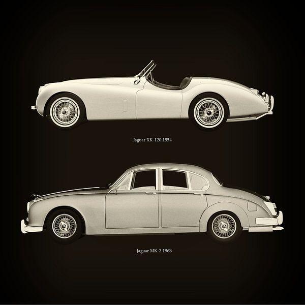 Jaguar XK-120 1954 en Jaguar MK-2 1963 van Jan Keteleer