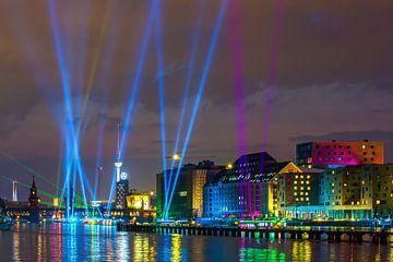 Lichtshow op de Berlijnse skyline
