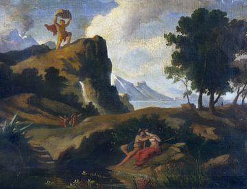 Friedrich Preller, Der eifersüchtige Zyklop erschlägt Akis, den Geliebten der Nereide mit einem Stei