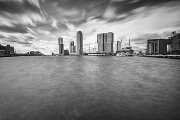 Rijnhaven Rotterdam in zwartwit van