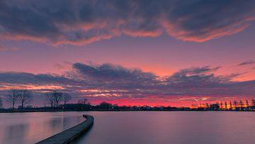 Zonsopkomst Zilvermeer, Groningen, Nederland van Henk Meijer Photography