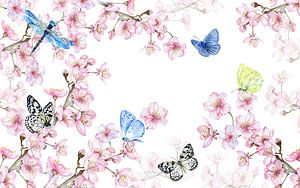 Bloesemtakken vlinders van Geertje Burgers