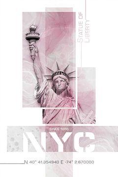 NYC Statue de la Liberté | Marbre rose sur Melanie Viola