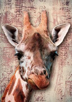 Portret van giraffe van Bert Hooijer