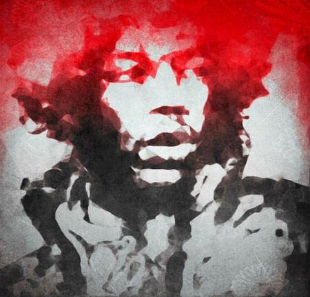 Jimi Hendrix Watercolour Pop Art van Felix von Altersheim