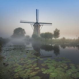 Molen in de ochtendmist von Wim van de Water