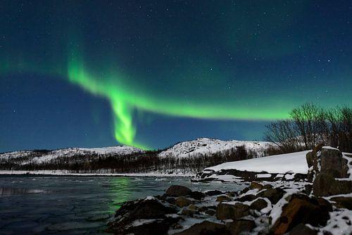 Noorderlicht in de nachtelijke hemel boven Senja eiland in Noord-Noorwegen