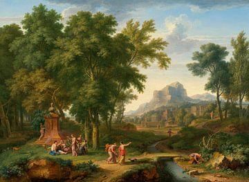 Arkadische Landschaft mit einer Flora-Büste, Jan van Huysum