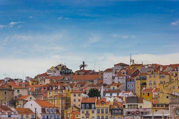 Lissabon uitzicht over de daken vanaf Miradouro das Portas do Sol sur Michèle Huge