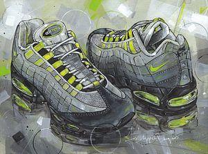 Nike Air Max 95 OG Neon schilderij van Jos Hoppenbrouwers