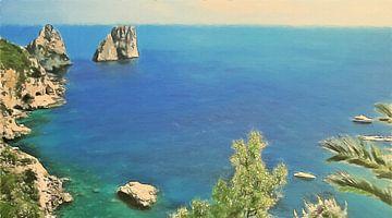 Italië Capri - Uitzicht op Faraglioni Rotsformaties bij Zonsodergang - Houtskool Geëtst Schilderij
