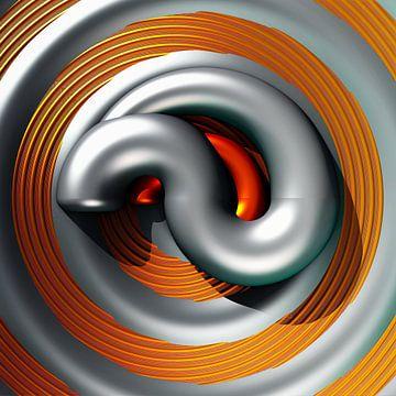 Spirale. Berechnetes Logo aus Mandelbulb Fraktalen von Frank Heinz