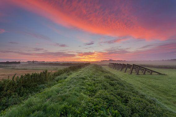 Zonsopkomst Schokland, Flevoland, Nederland.
