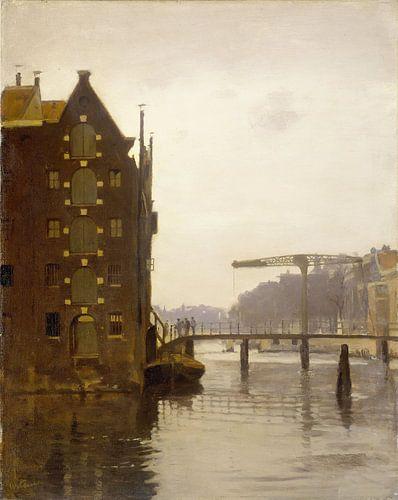 Amsterdam schilderij Pakhuizen aan een Amsterdamse gracht op Uilenburg van