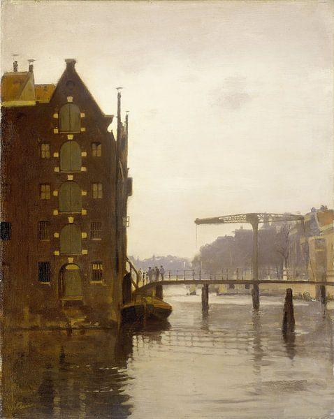 Amsterdam schilderij Pakhuizen aan een Amsterdamse gracht op Uilenburg van Schilderijen Nu