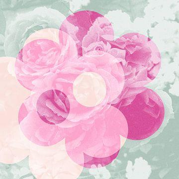 Amour des fleurs-roses: rose, menthe et saumon sur Eva van den Hamsvoort